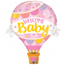 Welcome Baby Pink Hot-Air Balloon Large Balloon 1pc
